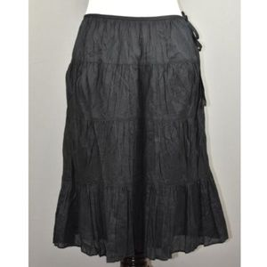 Talbots Tiered Cotton Side Zip A-Line Skirt